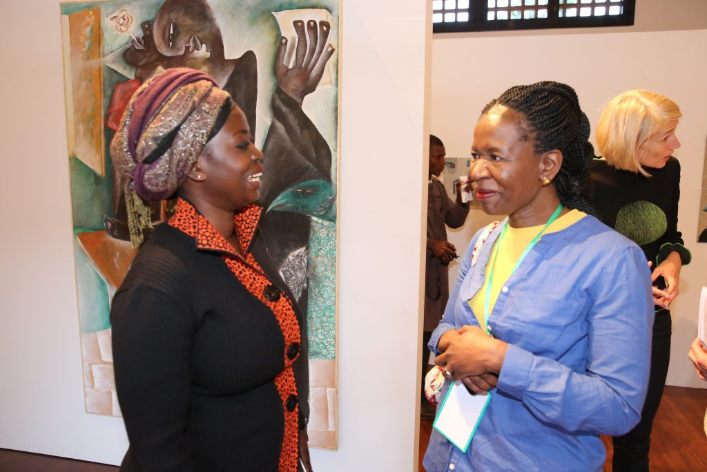 Kine Aw (left) at the opening exhibition 'Urban Africans Taboo-breaking artists'
